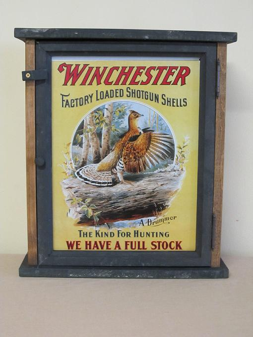 Winchester Factory Load Shotgun Shells w/Game Bird Pine Cabinet