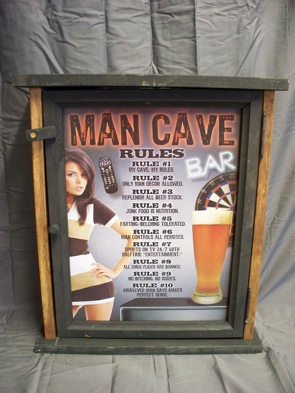 Man Cave Rules Pine Cabinet
