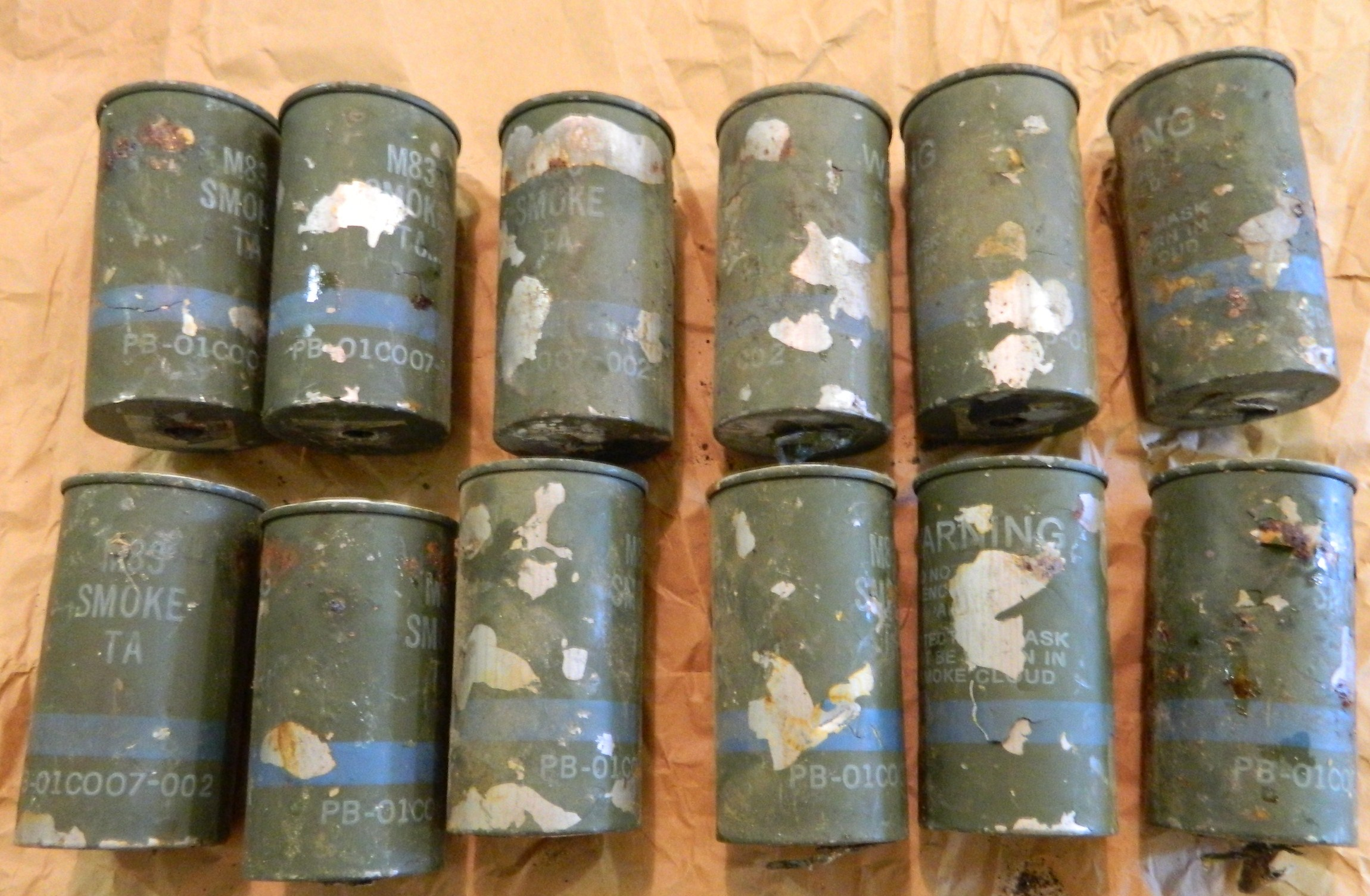 Smoke Grenade Canisters- EMPTY-no tops- 12 Ct.