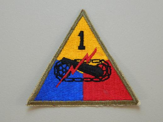 1st Armored Div. Color Patch WW2 NO TAB